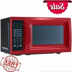 0.7 Cu. Ft. 700W Red Microwave with 10 Power Levels Kitchen