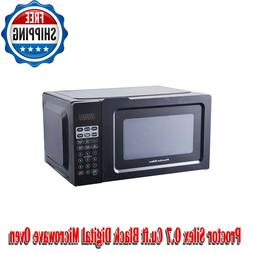 Proctor Silex 0.7 Cu.ft Black Digital Microwave Oven, Small