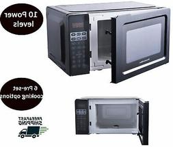 0.7 cu ft Small Microwave Oven Black 700 Watt 6 Presets 10 P