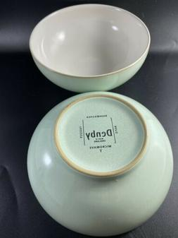 2 Denby England Stoneware England T Microwave Bowl Mint Gree