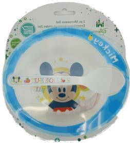 2PC MICKEY MOUSE BABY BOWL AND SPOON SET MICROWAVE SAFE BPA