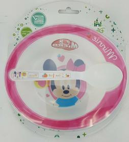 2PC MINNIE MOUSE BABY BOWL AND SPOON SET MICROWAVE SAFE BPA