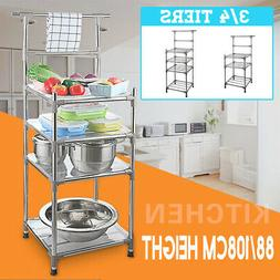 3/4 Tiers Stainless Steel Kitchen Rack Shelves Sheelf Microw