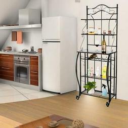 5-Tier Black Storage Metal Microwave Oven Bakers Rack Kitche