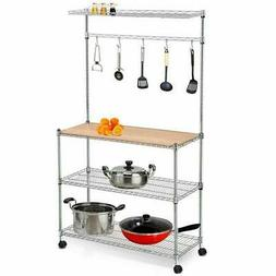 "59"" 4 Tier Bakers Rack Kitchen Cart Microwave Stand Cutting"