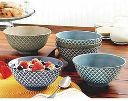6 Piece Set Wax Relief Bowl, 100% Porcelain, Dishwasher and
