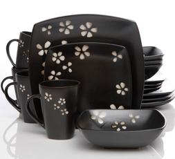 Casual Dishes Floral Dish Set Black and White Everyday Dishe