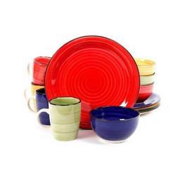 Color Vibes 12-Pcs Dinnerware Set Microwave & Dishwasher Saf