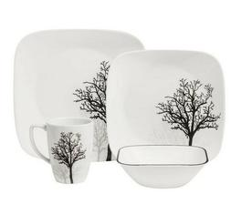 CORELLE Dinnerware Set Square Timber Shadows w/ Chip/Stain R