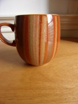 Denby Eng. Chili Fire Stripes Coffee Mug~Microwave,Dishwashe