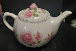 Gibson Housewares Roseland Pink Roses fine ceramic  Teapot-