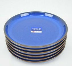 Denby Imperial Blue Med 8 in Med Coupe Plate x6 Freeze Micro