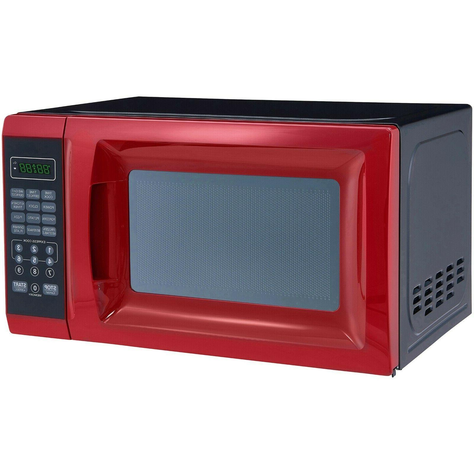 0.7 Ft. Red Microwave Power Levels, Kitchen