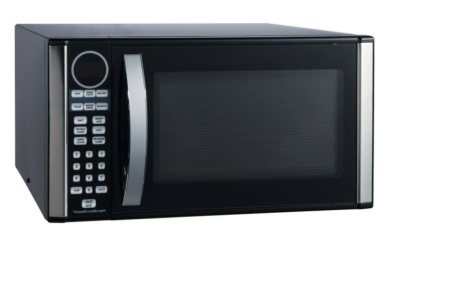 Hamilton Microwave Oven Black Stainless Steel Display
