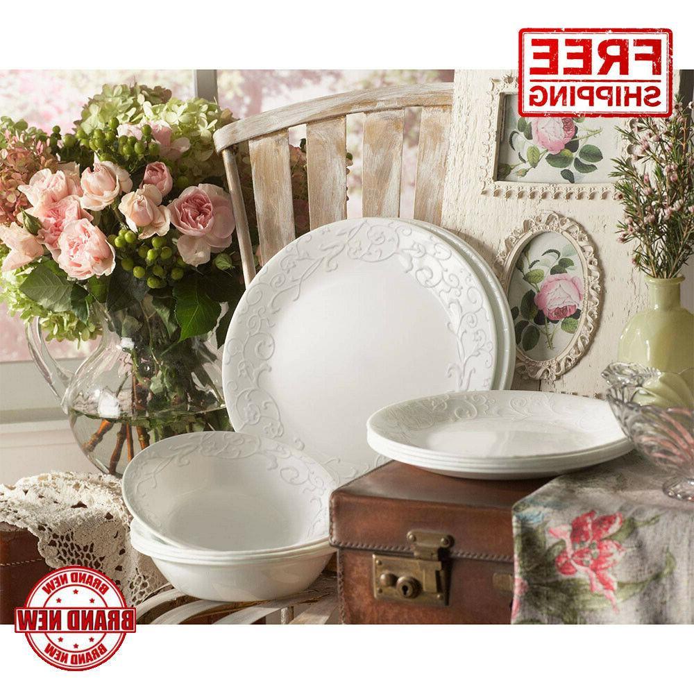 16 Piece Dinnerware Set Corelle Embossed Bella Faenza White