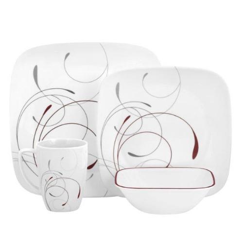 Corelle Square 16-Piece Dinnerware Set, Splendor, Service fo