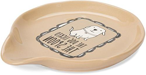 """Pavilion Gift Cats & Dogs-""""The Licked Spoon"""" Tan Ceramic Beige"""