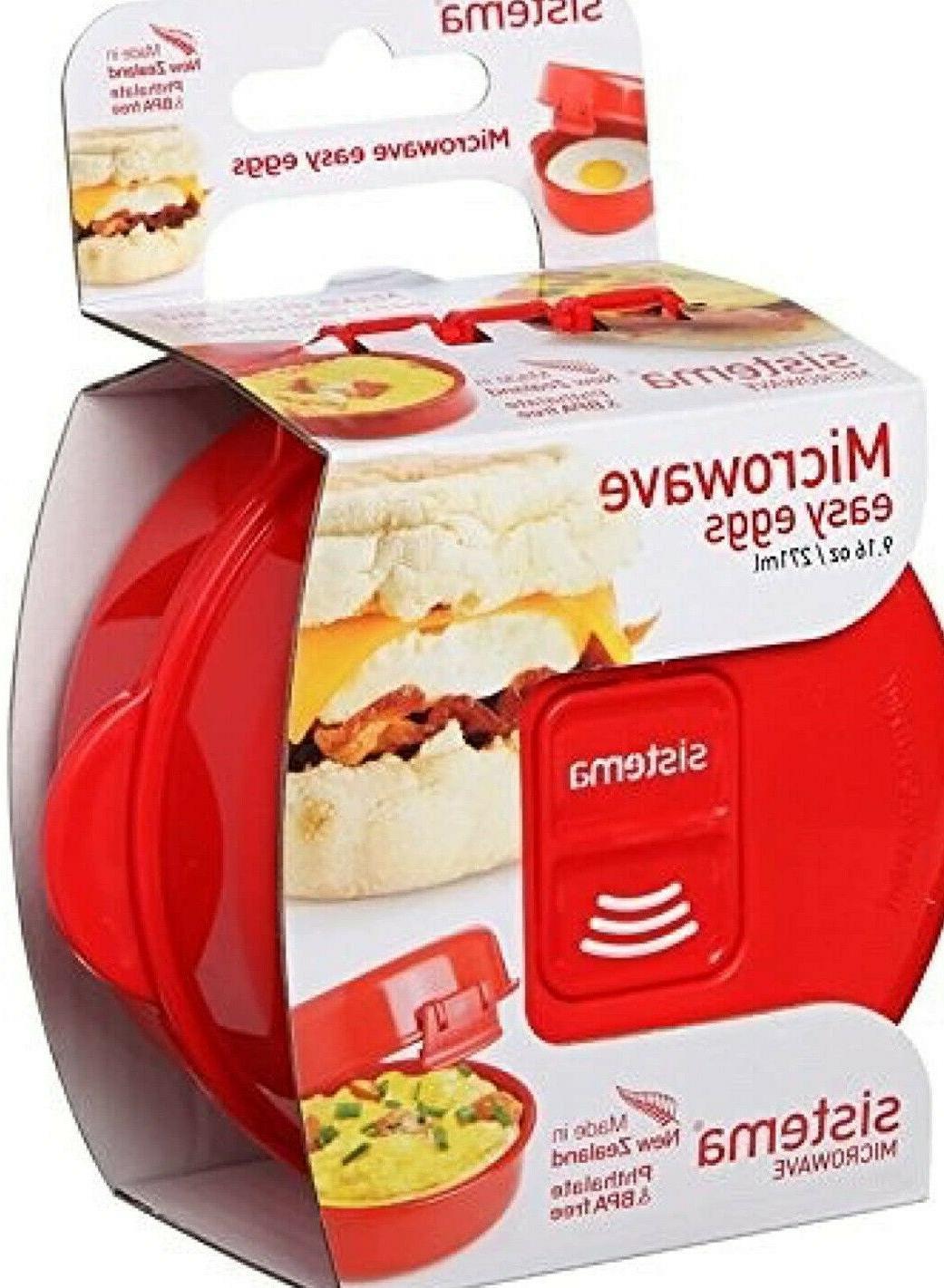 Sistema Microwave  Cookware Easy Eggs, Red, 9.16 Oz/271 ml B
