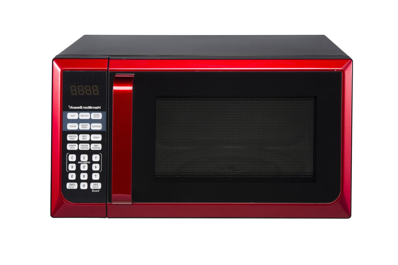 Microwave Oven Dorm Room Modern touch-pad Red Stainless Stee