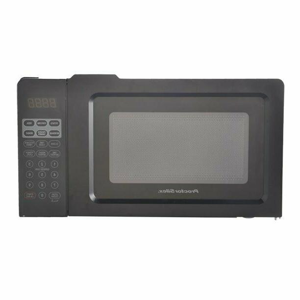 Small Microwave 0.7 Black Defrosts and Cooks Food