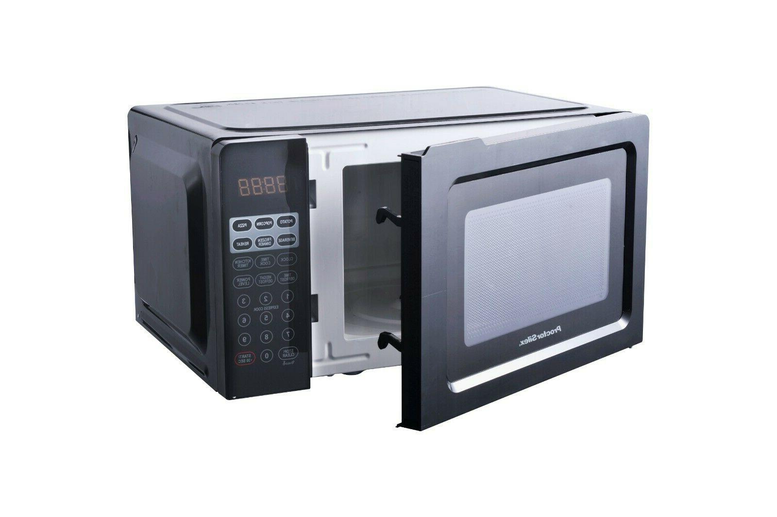 Small Table Microwave Oven 0.7 Black Defrosts Cooks Food
