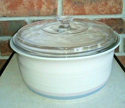 stoneware aura pink round casserole baking dish