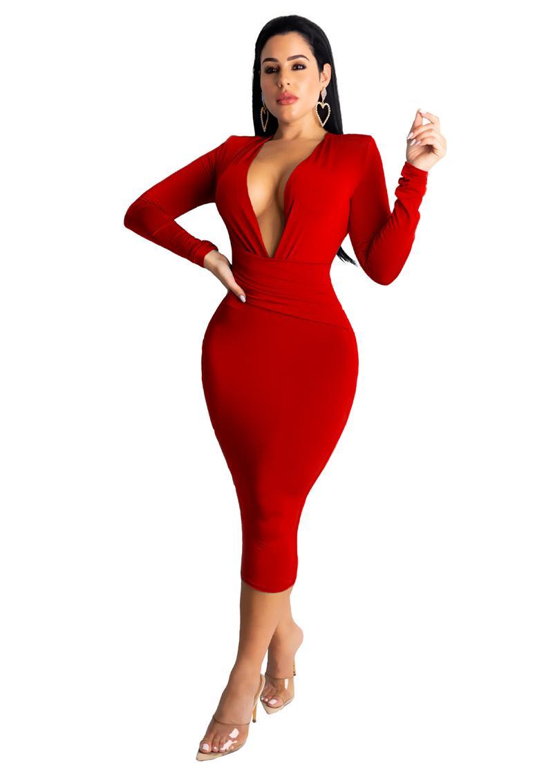 vestidos de largos rojos noche sexys dress