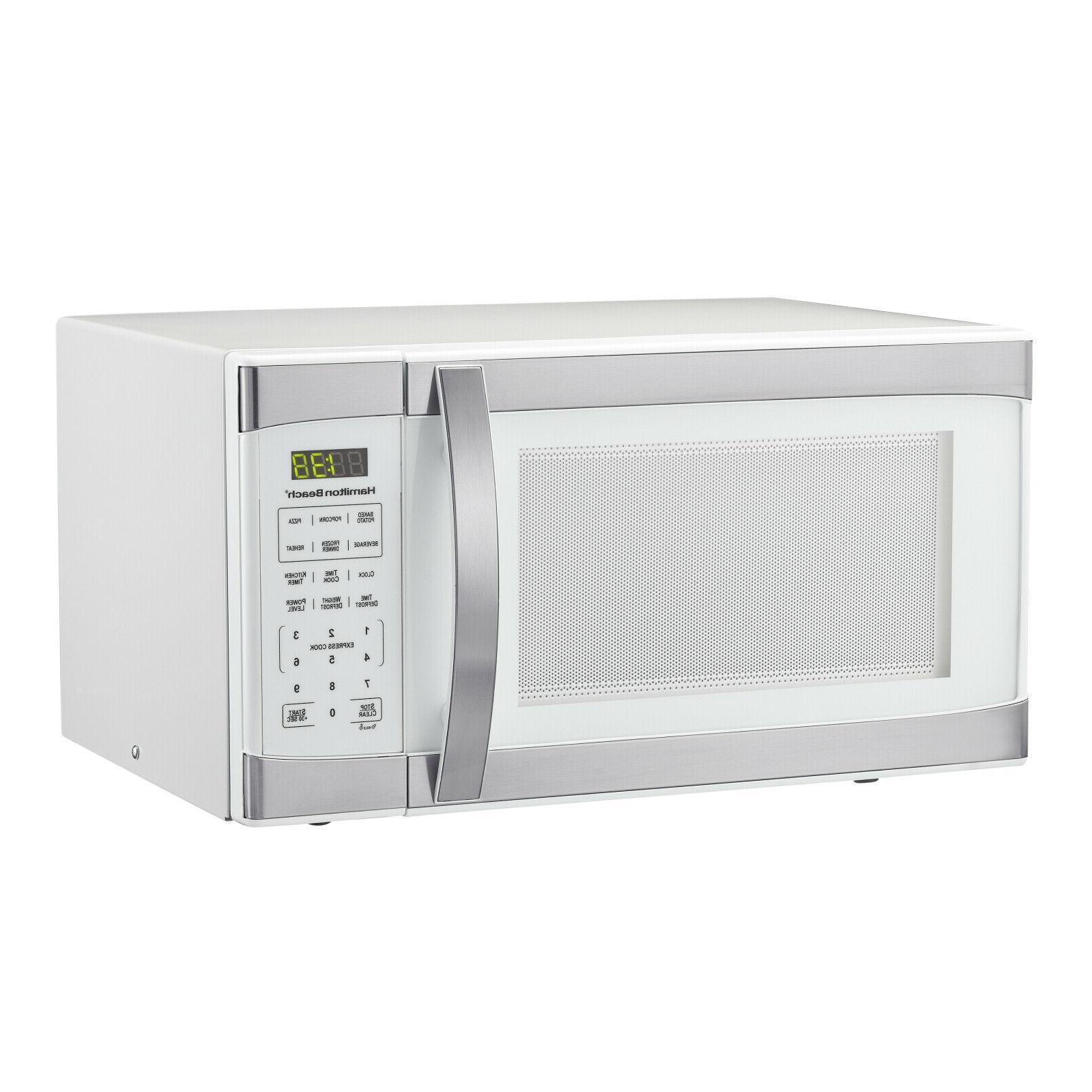 Hamilton 1.1 White Stainless Steel Digital Microwave
