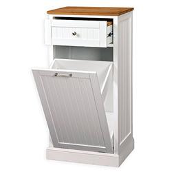 Microwave Kitchen Cart With Hideaway Trash Can Holder White