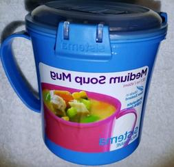 New! Sistema Blue Microwave Soup mug Cookware Cup Noodles Bo