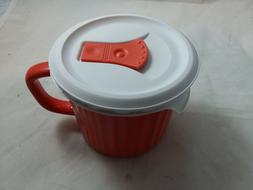 Corningware Pop Ins 20 Oz Mug with Vented Lid New Red Orange