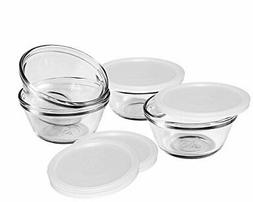 Anchor Hocking Set of 4 6 Ounce Glass Custard Cups With Snap