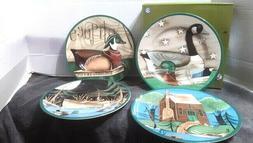 "Wilson&Wilson Folk Art Co NEW 9"" plates Duck Goose Mallard G"